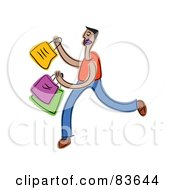 Royalty Free RF Clipart Illustration Of An Abstract Man Carrying Shopping Bags by Prawny