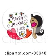 Royalty Free RF Clip Art Illustration Of A Happy Mothers Day Greeting With A Woman An Hearts by Prawny