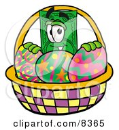 Dollar Bill Mascot Cartoon Character In An Easter Basket Full Of Decorated Easter Eggs by Toons4Biz