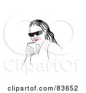 Royalty Free RF Clipart Illustration Of A Line Drawing Of A Red Lipped Woman Wearing Shades And Drinking
