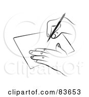 Royalty Free RF Clipart Illustration Of A Line Drawn Hand Signing A Contract by Prawny