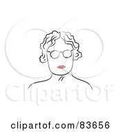 Royalty Free RF Clipart Illustration Of A Line Drawing Of A Red Lipped Senior Womans Face