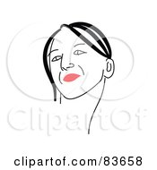 Royalty Free RF Clipart Illustration Of A Line Drawing Of A Red Lipped Womans Face Version 9