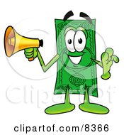 Dollar Bill Mascot Cartoon Character Screaming Into A Megaphone by Toons4Biz
