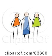 Royalty Free RF Clipart Illustration Of A Trio Of Family Member Stick People by Prawny