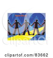 Royalty Free RF Clipart Illustration Of A Team Of Silhouetted Men Holding Hands Under Teamwork On Blue