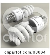 Royalty Free RF Clipart Illustration Of Two 3d Spiral Energy Saver Light Bulbs On Gray by Leo Blanchette