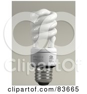 Royalty Free RF Clipart Illustration Of A 3d Upright Spiral Energy Saver Light Bulb On Gray by Leo Blanchette