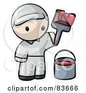 Royalty Free RF Clipart Illustration Of A Human Factor House Painter Man With Red Paint And A Brush