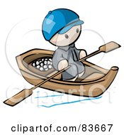 Royalty Free RF Clipart Illustration Of An Oriental Human Factor Man In A Floating Market Boat With Food