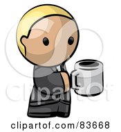 Royalty Free RF Clipart Illustration Of A Blond Human Factor Business Man Holding A Cup Of Coffee by Leo Blanchette
