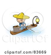 Oriental Human Factor Man In A Floating Market Boat With Oranges