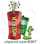 Dollar Bill Mascot Cartoon Character Standing With A Lit Stick Of Dynamite by Toons4Biz