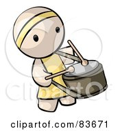 Royalty Free RF Clipart Illustration Of A Chinese Human Factor Drummer Man by Leo Blanchette