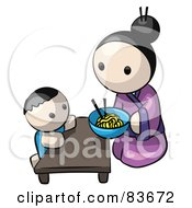 Royalty Free RF Clipart Illustration Of A Japanese Human Factor Mother Kneeling And Feeding Her Child Saimin Noodles by Leo Blanchette