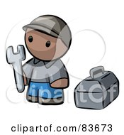 Royalty Free RF Clipart Illustration Of A Black Human Factor Contractor Man Holding A Wrench And Standing By A Toolbox by Leo Blanchette