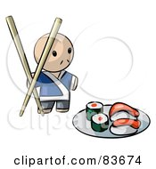 Royalty Free RF Clipart Illustration Of A Male Human Factor Sushi Chef With Giant Chopsticks by Leo Blanchette