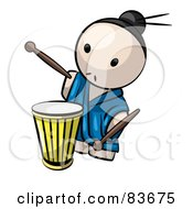 Royalty Free RF Clipart Illustration Of A Japanese Human Factor Man Playing A Drum by Leo Blanchette