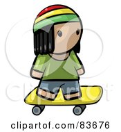 Royalty Free RF Clipart Illustration Of A Human Factor Jamaican Boy Skateboarding by Leo Blanchette