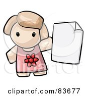 Royalty Free RF Clipart Illustration Of A Human Factor Girl Holding A Blank Page Or Report Card by Leo Blanchette