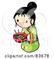 Royalty Free RF Clipart Illustration Of A Kneeling Japanese Human Factor Woman With A Bowl Of Saimin Noodles by Leo Blanchette
