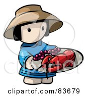 Royalty Free RF Clipart Illustration Of A Chinese Human Factor Woman Carrying A Lobster Platter by Leo Blanchette