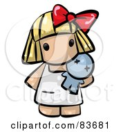 Poster, Art Print Of Blond Human Factor Girl Holding A Toy Doll