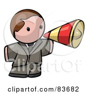 Royalty Free RF Clipart Illustration Of A Brunette Caucasian Human Factor Business Man Announcing Through A Megaphone