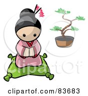 Royalty Free RF Clipart Illustration Of A Geisha Human Factor Woman Kneeling On A Pillow by Leo Blanchette