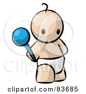 Royalty Free RF Clipart Illustration Of A Standing Human Factor Baby Holding A Rattle by Leo Blanchette