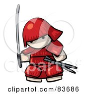 Royalty Free RF Clipart Illustration Of A Japanese Human Factor Warrior In Red Armor by Leo Blanchette