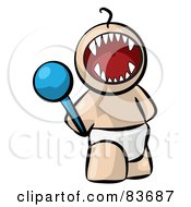 Royalty Free RF Clipart Illustration Of A Screaming Bratty Human Factor Baby With A Rattle by Leo Blanchette