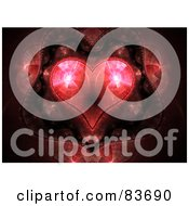 Royalty Free RF Clipart Illustration Of A Glowing Red Fractal Kaleidoscope Heart by Arena Creative