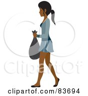 Royalty Free RF Clipart Illustration Of A Young Indian Woman Taking Out A Bag Of Trash
