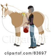 Royalty Free RF Clipart Illustration Of A Young Indian Woman Washing And Grooming Her Horse