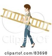 Young Brunette Caucasian Woman Carrying A Wooden Ladder