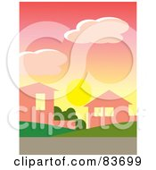 Royalty Free RF Clipart Illustration Of The Sun Below Clouds In A Pink Dawn Sky Over Homes In A Neighborhood by Rosie Piter