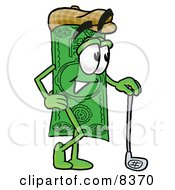 Clipart Picture Of A Dollar Bill Mascot Cartoon Character Leaning On A Golf Club While Golfing