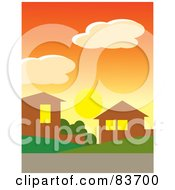 Royalty Free RF Clipart Illustration Of The Sun Below Clouds In An Orange Sunset Sky Over Homes In A Neighborhood