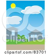 Royalty Free RF Clipart Illustration Of The Sun Above Clouds In A Daytime Sky Over Homes In A Neighborhoo
