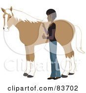 Royalty Free RF Clipart Illustration Of A Young Indian Woman Grooming Her Pet Horse With A Brush