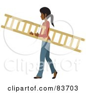 Young Indian Woman Carrying A Wooden Ladder