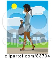 Royalty Free RF Clipart Illustration Of A Young Indian Woman Taking Out A Bag Of Garbage