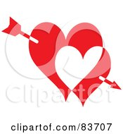 Royalty Free RF Clipart Illustration Of Cupids Arrow Through Two Red And White Hearts