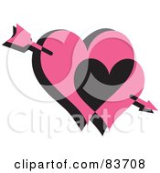 Royalty Free RF Clipart Illustration Of Cupids Arrow Through Two Pink And Black Hearts