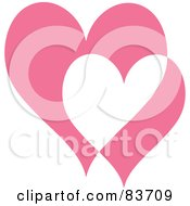 Royalty Free RF Clipart Illustration Of Two Big And Small Pink And White Hearts