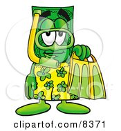 Clipart Picture Of A Dollar Bill Mascot Cartoon Character In Green And Yellow Snorkel Gear