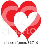 Royalty Free RF Clipart Illustration Of Two Big And Small Red And White Hearts