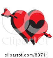Royalty Free RF Clipart Illustration Of Cupids Arrow Through Two Red And Black Hearts