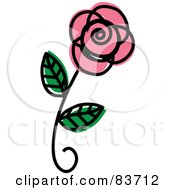 Royalty Free RF Clipart Illustration Of A Single Pink Rose Sketch by Rosie Piter